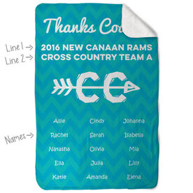 Cross Country Sherpa Fleece Blanket Personalized Thanks Coach Chevron