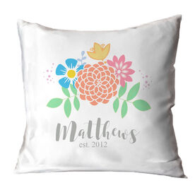 Personalized Throw Pillow - Family Flowers