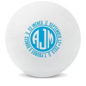 Personalized Monogram Birth Announcement Lacrosse Ball (White Ball)