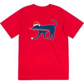 Softball Short Sleeve Performance Tee - Play Ball Christmas Dog
