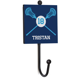 Guys Lacrosse Medal Hook - Lacrosse Crossed Sticks With Name And Number