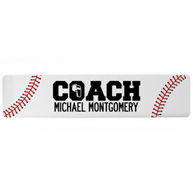 "Baseball Aluminum Room Sign - Coach Baseball (4""x18"")"