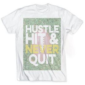 Vintage Football T-Shirt - Hustle Hit & Never Quit