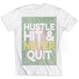 Vintage Football T-Shirt - Hustle Hit & Never Quit