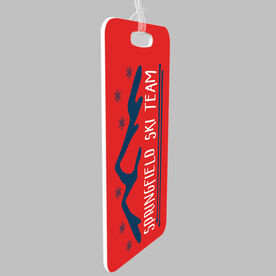 Skiing and Snowboarding Bag/Luggage Tag - Personalized Mountain Sketch