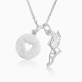 Livia Collection Sterling Silver Winged Foot Love Necklace
