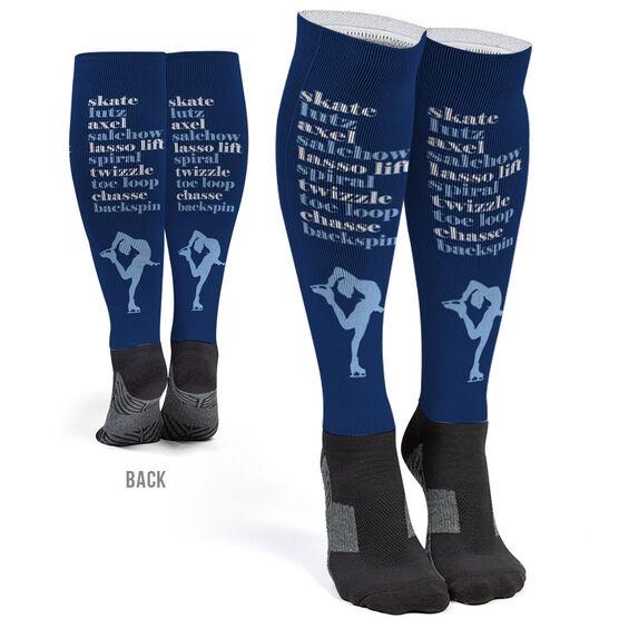 Figure Skating Printed Knee-High Socks - Skate Mantra