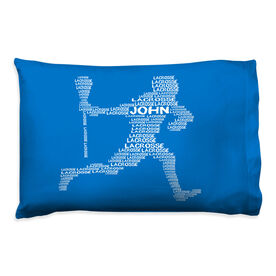 Guys Lacrosse Pillowcase - Personalized Words Male Player