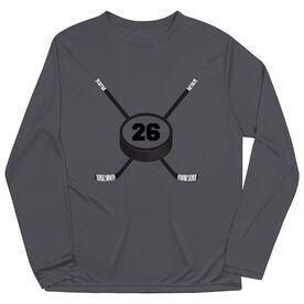 Hockey Long Sleeve Performance Tee - Personalized Hockey Number