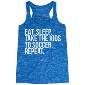 Soccer Flowy Racerback Tank Top - Eat Sleep Take The Kids To Soccer