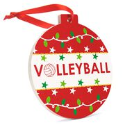 Volleyball Round Ceramic Ornament - Christmas Lights