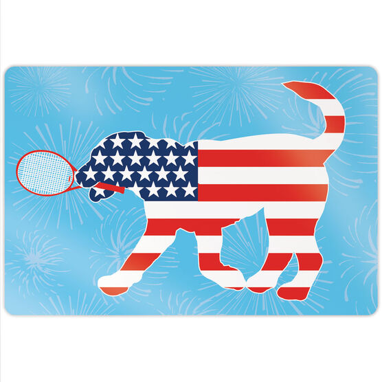 """Tennis 18"""" X 12"""" Aluminum Room Sign - Patriotic Dennis The Tennis Dog"""