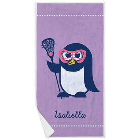Girls Lacrosse Premium Beach Towel - Lax Penguin