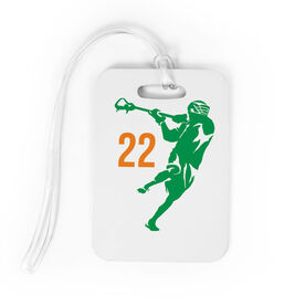 Guys Lacrosse Bag/Luggage Tag - Personalized Jump Shot Silhouette