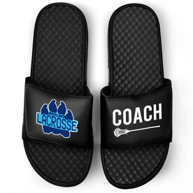 Guys Lacrosse Black Slide Sandals - Logo and Coach