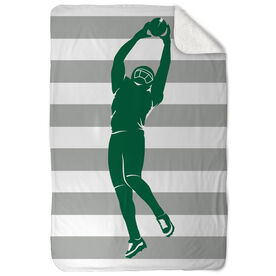 Football Sherpa Fleece Blanket Stripes With Player Silhouette