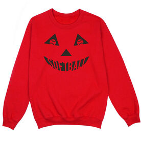 Softball Crew Neck Sweatshirt - Softball Pumpkin Face