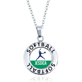 Softball Circle Necklace - Pitcher Silhouette With Name