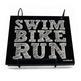 BibFOLIO® Race Bib Album - Swim Bike Run (Stacked)