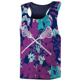 Girls Lacrosse Racerback Pinnie - Flower Power with Crossed Sticks
