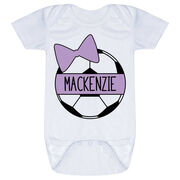 Soccer Baby One-Piece - Personalized Soccer Ball Bow