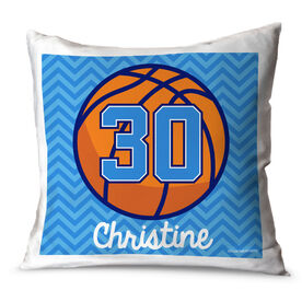 Basketball Throw Pillow Personalized Basketball With Chevron