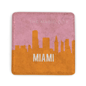 Personalized Stone Coaster - Miami Skyline