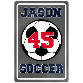 """Soccer Aluminum Room Sign Boy Personalized Soccer Ball (18"""" X 12"""")"""