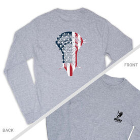 Guys Lacrosse Tshirt Long Sleeve - Patriotic Stick (Logo Collection)