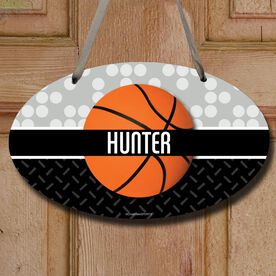 Basketball Oval Room Sign Personalized 2 Tier Patterns with Basketball