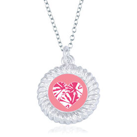 Cheerleading Braided Circle Necklace - Pom Pom Heart