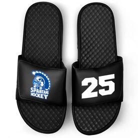 Hockey Black Slide Sandals - Logo and Big Number