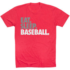 Baseball Tshirt Short Sleeve Eat Sleep Baseball Bold Text