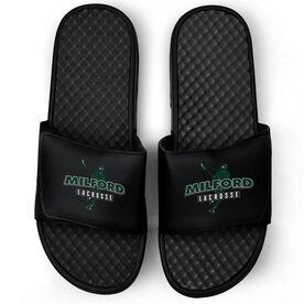 Girls Lacrosse Black Slide Sandals - Your Team Name