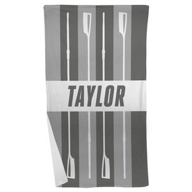 Crew Beach Towel Personalized Stripes with Oars