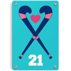 Field Hockey Metal Wall Art Panel - Personalized Crossed Sticks Heart