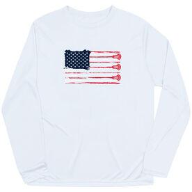 Guys Lacrosse Long Sleeve Performance Tee - American Flag