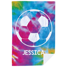 Soccer Premium Blanket - Personalized Tie Dye with Ball
