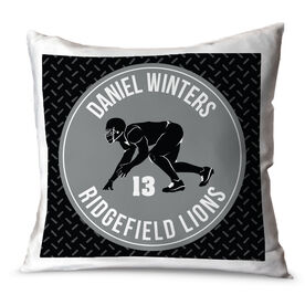 Football Throw Pillow Personalized Football Team with Linebacker Silhouette