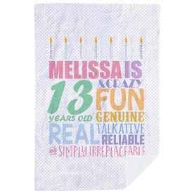 Personalized Premium Blanket - Birthday Cake Adjectives (girl)