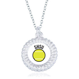 Tennis Braided Circle Necklace - Ball With Team Initials