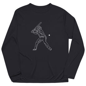 Baseball Long Sleeve Performance Tee - Baseball Player Sketch
