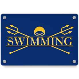 Swimming Metal Wall Art Panel - Crest