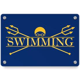 Swimming Metal Wall Art Panel - Crest