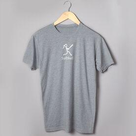 Softball Tshirt Short Sleeve Softball Girl White Stick Figure with Word