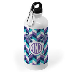 Girls Lacrosse 20 oz. Stainless Steel Water Bottle - Monogrammed Double Chevron Pattern With Crossed Sticks