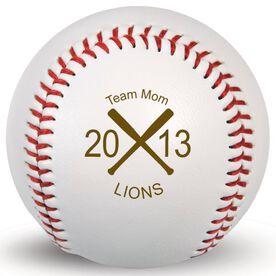 Baseball Team Mom Crossed Bats Laser Engraved Baseball