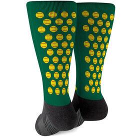 Softball Printed Mid-Calf Socks - Softball Pattern