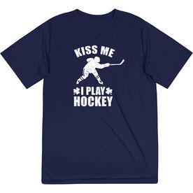 Hockey Short Sleeve Performance Tee - Kiss Me I Play Hockey