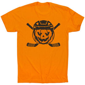 Hockey Short Sleeve T-Shirt - Helmet Pumpkin